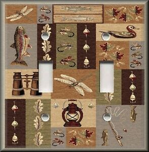 light switch plate cover fly fishing rustic lodge home fishing decor five piece fly reel coaster set camo trading
