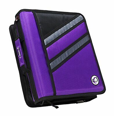 Case-it Z-binder Two-in-one 1.5-inch D-ring Zipper Purple Six Inner Mesh Pockets