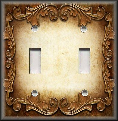 Light Gold Ornate Frames - Metal Light Switch Plate Cover - Victorian Gothic Decor Ornate Frame Gold Brown
