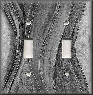 Metal Light Switch Plate Cover - Wavy Grey Hues Modern Home Decor Grey Stripes ()
