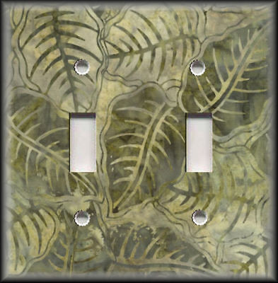 Metal Light Switch Plate Cover Boho Home Decor Batik Leaves Pattern Green Decor