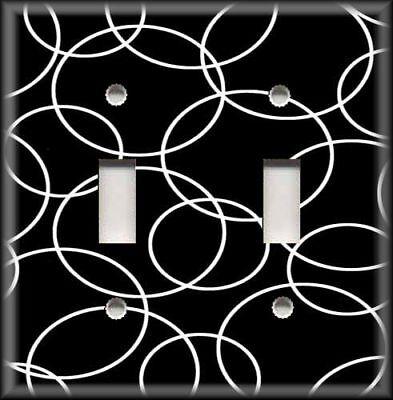 Metal Light Switch Plate Cover - Modern Art Circles - Black White Home Decor ()