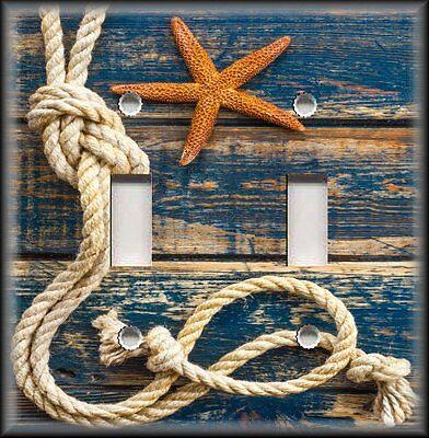 Light Switch Plate Cover Beach Home Decor Rope Starfish Blue Nautical Decor