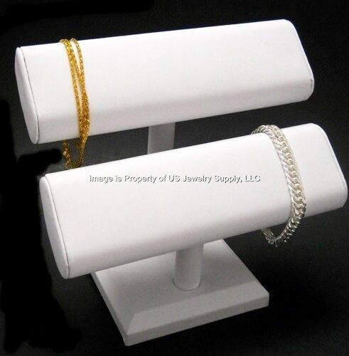 "White Oval Double T Bar Display for Bracelets, Watches Chains  7 1/2""W x 7""H"