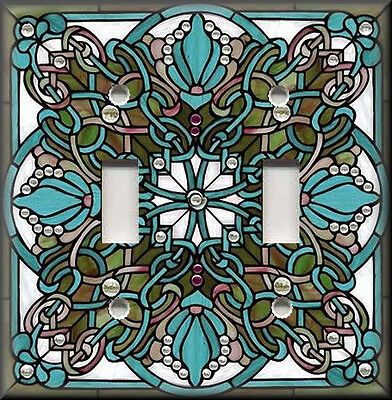 Art Glass Switch Cover (Metal Light Switch Plate Cover - Art Nouveau Stained Glass Pattern Blue)