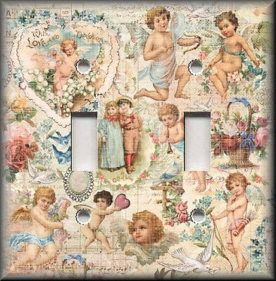 Metal Light Switch Plate Cover - Vintage Angels Cherubs Shabby Chic Decor - Decorated Light Switch Cover