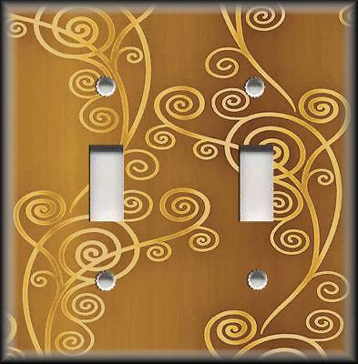 Metal Light Switch Plate Cover - Shaded Swirls Modern Decor Amber Gold Wallplate ()