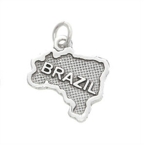 STERLING-SILVER-TEXTURED-MAP-OF-BRAZIL-CHARM-PENDANT