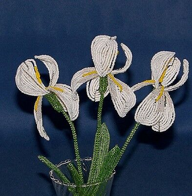 Vintage French Glass Beaded White Iris 0/3 Flower Bouquet