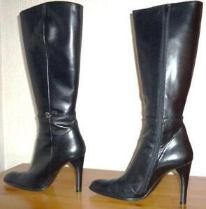 17ef60fb494 Black Leather Stiletto Boots