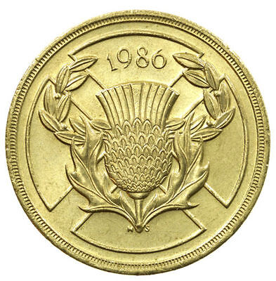 £2 TWO POUND COIN, COMMONWEALTH GAMES SCOTLAND, 1986- CIRCULATED, RARE THISTLE