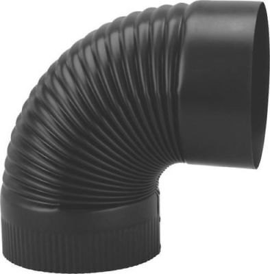STOVE PIPE ELBOW 6 INCH BLACK HEAVY 24 GAUGE BRAND NEW CORRUGATED