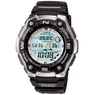 Casio Fishing Timer Watch  200 Meter Wr  Thermometer  Black Resin  Aqw101 1Av