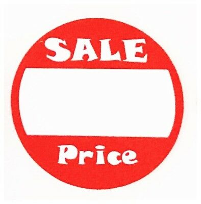 200 Red White Adhesive Labels Sale Garage Price Tags Stickers 1 Inch Round