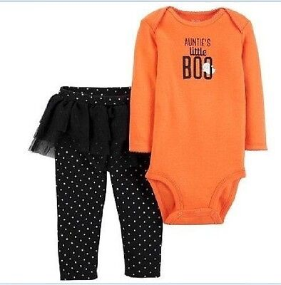 Baby Girl Aunties Little Boo 2 Pc Top Tutu Leggings Halloween Outfit Set 3M-12M](Halloween Baby Tutu)