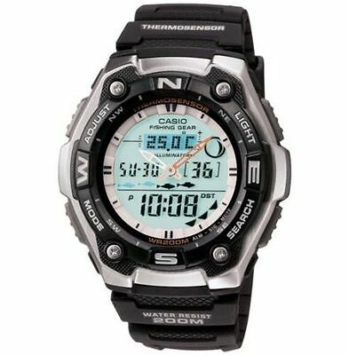 Casio Aqw101 1Av  Moon Phase Fishing Watch  Analog Digital Combo  Resin Band