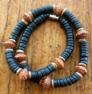Beach Surfer Necklace 17 1/2 inch Black Wood & Palm Wood Accent Beads
