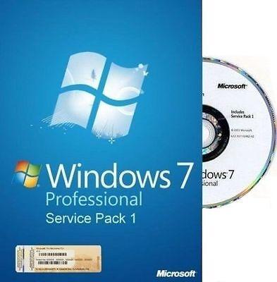 Microsoft Windows 7 Professional PRO - 64 Bit Full Version & Upgrade SP1 NEW!