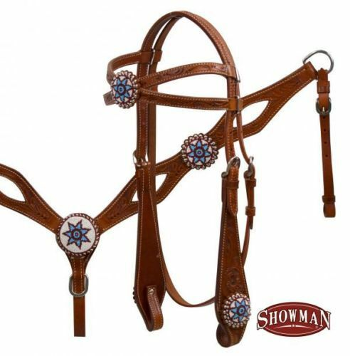 Western Saddle Horse Leather Tack Set Criss Cross Bridle Headstall Breast Collar