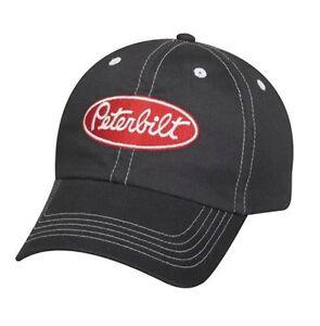d3e73f58fae Peterbilt Trucks Motors Unstructured Charcoal Twill Trucker Stitched Cap Hat