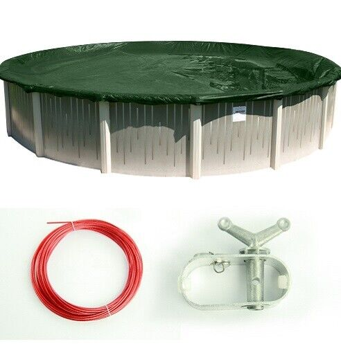 Supreme Green/Black Swimming Pool Round Winter Closing Cover (Multiple Sizes)