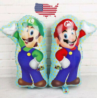 XL SUPER BIG Super Mario Bros Brothers Helium Balloon Birthday Party FAST USA - Mario Birthday Party
