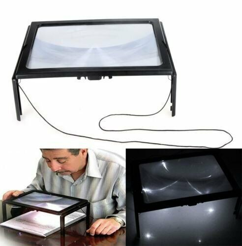 3X Large Hands Free Magnifying Glass W/ LED Light Magnifier For Reading Craft