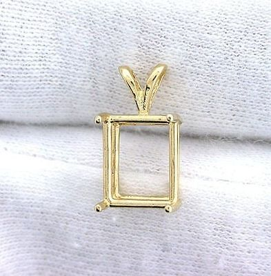 (14Kt Yellow Gold 6x4 6mm x 4mm Emerald Gemstone Gem Pendant Prenotched Mounting)