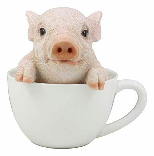 "Ebros Adorable Babe Teacup Pig Figurine 5.25"" Tall Realistic Animal Collectible"