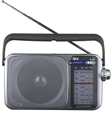 QFX R24 Portable AM FM SW1 SW2 Radio Silver  Silver