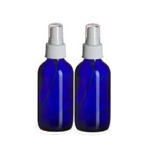 2 NEW 4 oz. Cobalt Blue Boston Round GLASS Spray Bottle Fine