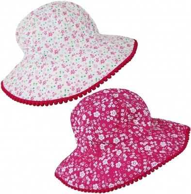 Girls Flower Print Bucket Beach Floppy Wide Sun Hat 100% Cotton Summer Age 1-10