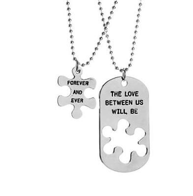 2pc Couple Necklace Puzzle Piece Dog Tag Love Forever & Ever His Hers Friendship