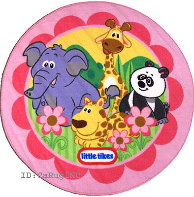 3x3 Round Rug Animal Kingdom Panda Bear Elephant Tiger Giraffe Little Tikes 39