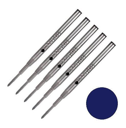 5 - MONTEVERDE Ballpoint Montblanc Style Pen Refill - BLUE BLACK INK, Medium