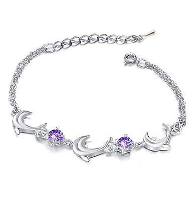 (Womens Sterling Silver Bracelet Dolphin Link Purple Amethyst Crystal Gift Box AC)