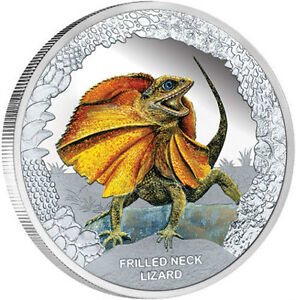 Frilled neck lizard silver proof coin by perth mint