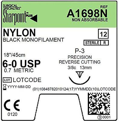 A1698n Sharpoint Plus Monofilament Nylon Suture