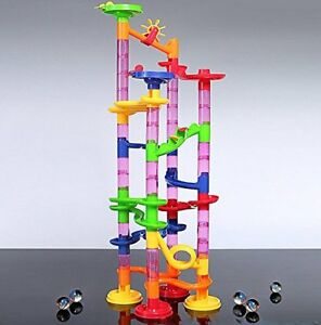 80 Piece Marble Run Race Set Building Blocks Construction Toy Game Glass Marbles