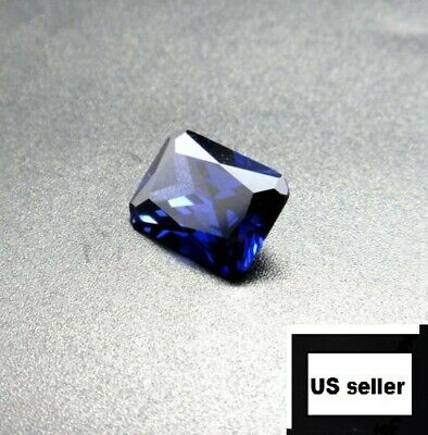 Unheated Dazzling 9.08ct Blue Sapphire 10X14MM Diamond Emerald Loose Gemstone A+