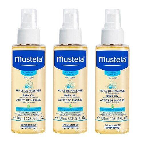 Mustela Baby Oil, 3.38 Oz (Pack of 3)