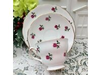 colclough fragrance rose bud trio plate cup and saucer - gorgeous condition