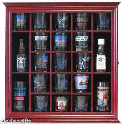 Shot Glass Holder (21 Shot Glass Display Case Holder Wall Curio Cabinet Shadow Box -)