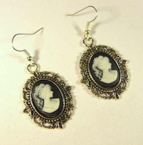 Black Cameo Earrings Ebay
