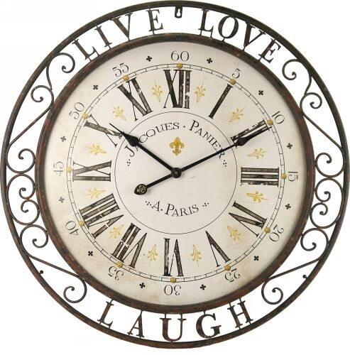 76 Cm Large Live Love Laugh Paris Classic Wall Clock