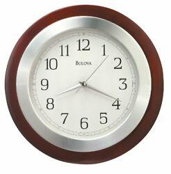 Bulova Reedham Analog Quartz 14 Solid Wood and Aluminum Wall Clock C4228