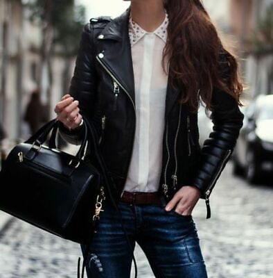 New Womens Ladies Quilted Black Lamb Skin Slim Fit Leather Jacket ()