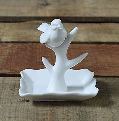 Song Bird In Tree Ring Holder White Ceramic Pole Vanity Jewelry Unique Gift