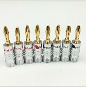 NAKAMICHI BANANA PLUGS - 8 PCS COPPER/ 24K GOLD PLATED - NEW