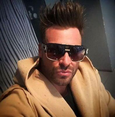 Oversized Square Aviator Sunglasses Gold Metal Bar Black Men Grand Designer Dark
